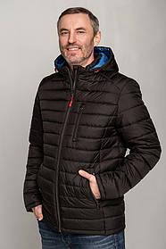 Модна чоловіча куртка чорного кольору весна-осінь, з блакитним капюшоном, розмір 50, 52,53, 54, 56, 58