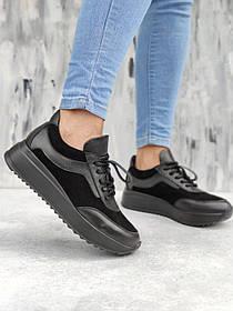Чисто черные кожаные кроссовки, размеры от 36 до 41