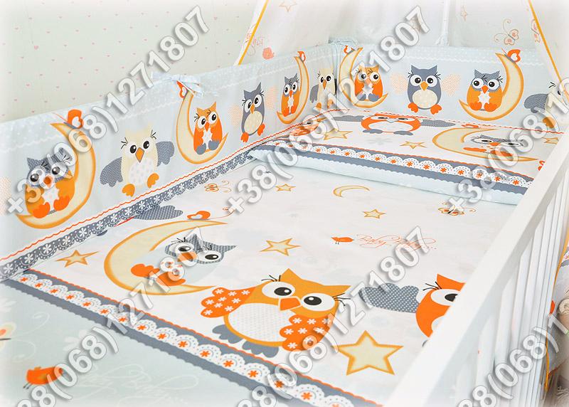 Детское постельное белье и защита (бортик) в детскую кроватку (сова серый)