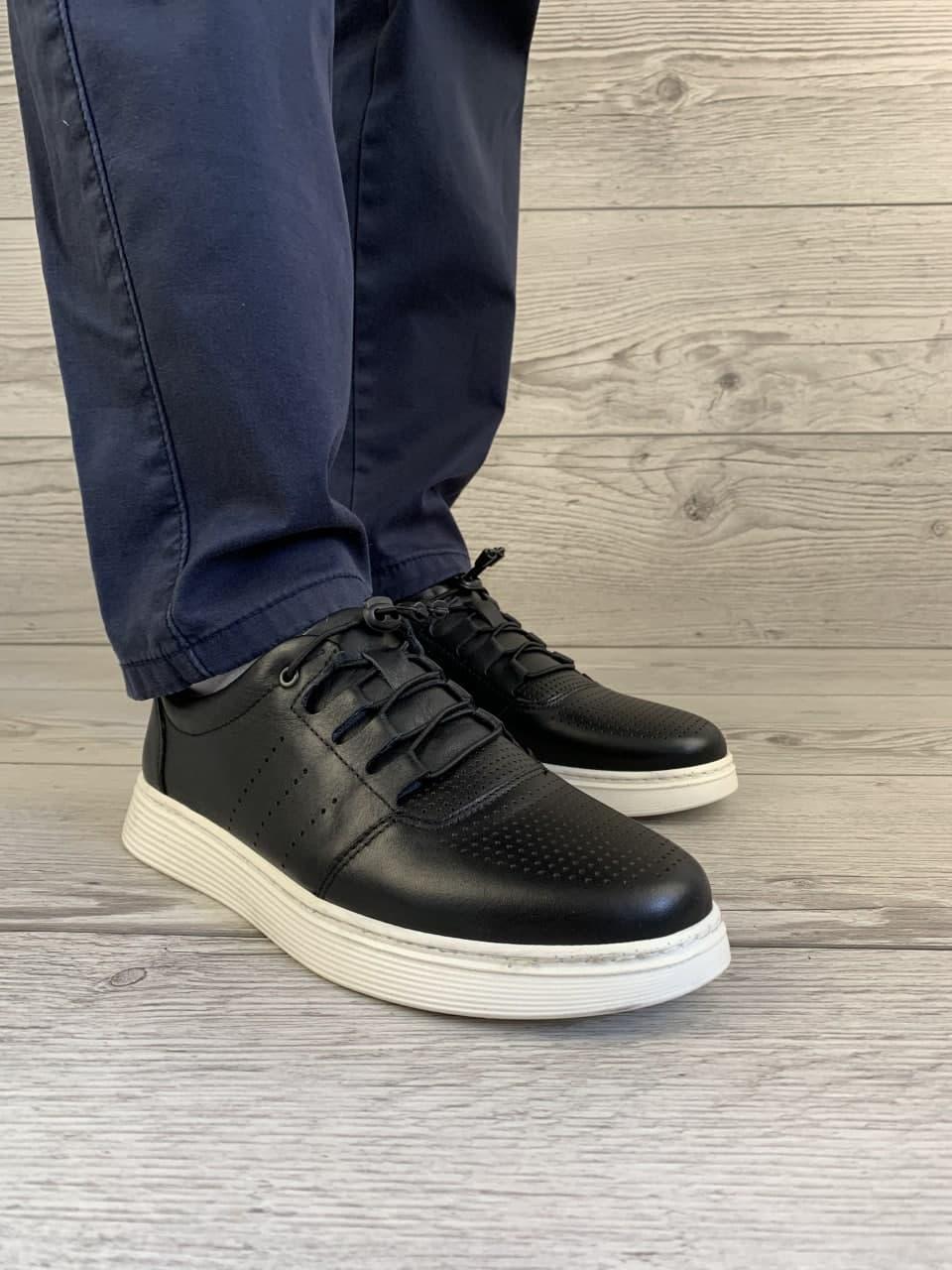 Кеди шкіра чорні туфлі чоловічі перфоровані туреччина