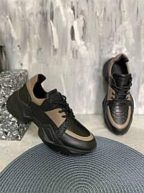 Стильные кожаные черные кроссовки с бежевыми вставками, размеры от 36 до 41