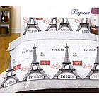 Постільна білизна бязь двоспальний комплект розмір 175х215 см малюнок Париж, фото 3