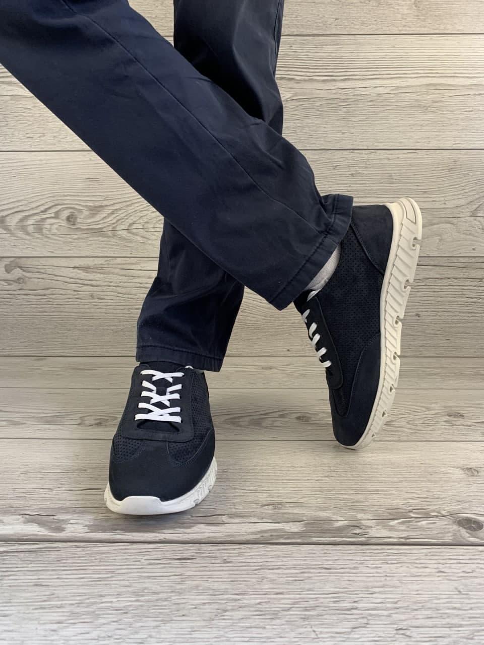 Кросівки нубук темно сині демісезонні перфоровані