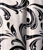 Штора блекаут серый с черным узором