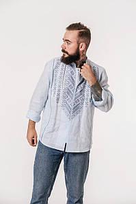 Вышиванка Гори с вышивкой на голубом льне