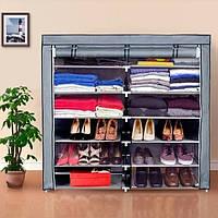 Складной тканевой шкаф-органайзер HCX для хранения вещей и обуви T-2712 на 2 секции 118х30х110 см Серый