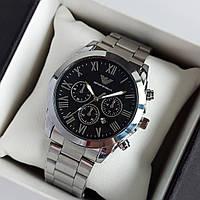 Мужские наручные часы Emporio Armani (армани) серебристые с черным циферблатом, римские цифры, дата - код 1946