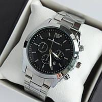 Мужские наручные часы Emporio Armani (армани) серебристые с черным циферблатом, метки, дата - код 1948