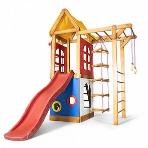 Уличная детская площадка с горкой, кольцами, лесенкой, рукоходом, шведской стенкой, песочницей для дачи и дома