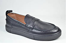Мужские кожаные туфли лоферы черные Safari 802 - 0 - 101