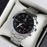 Мужские наручные часы Rolex (ролекс), серебристые с черным циферблатом, римские цифры, дата - код 1950