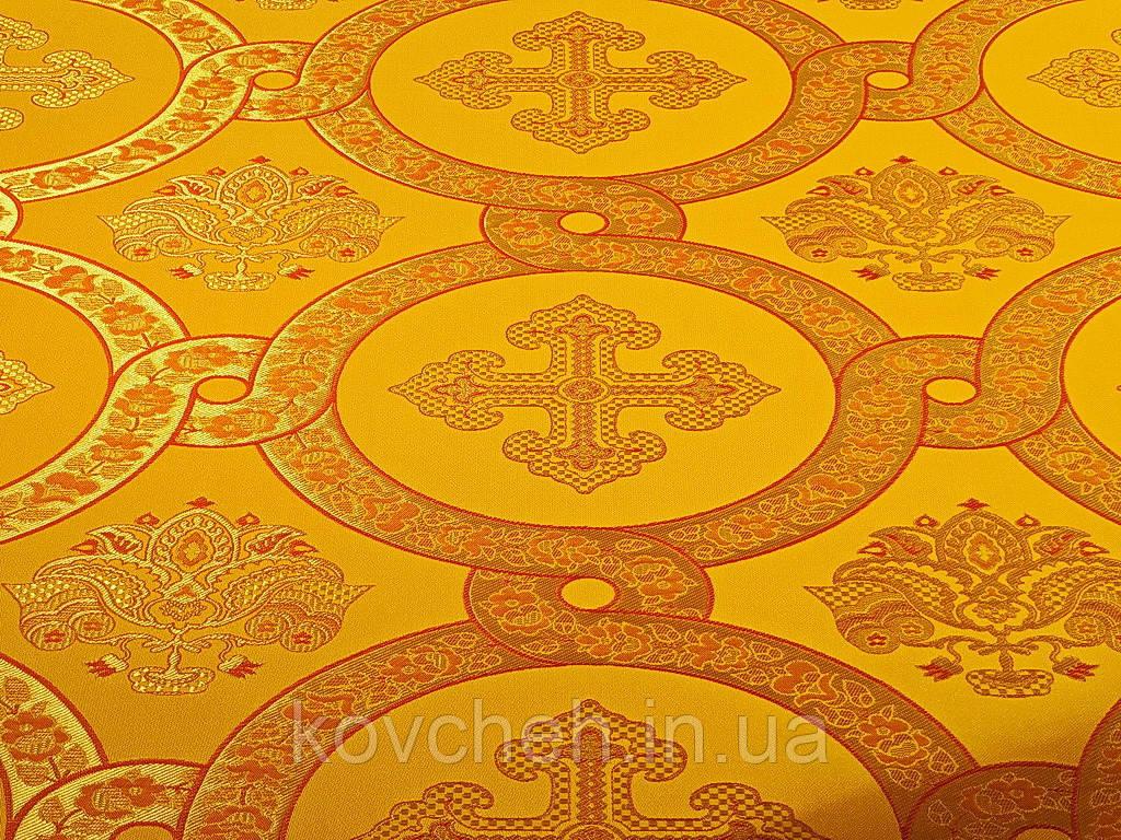 Шелковая церковная ткань Гефсиманский сад желтый с красным кантом