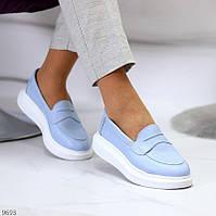 """Жіночі шкіряні туфлі Блакитні """"Ally"""", фото 1"""