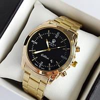 Мужские наручные часы Rolex (ролекс), золотые с черным циферблатом, римские цифры, дата - код 1953