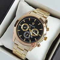 Мужские наручные часы Rolex (ролекс), золотые с черным циферблатом, хронографы, дата - код 1954