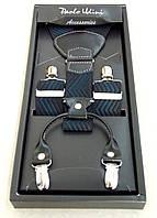 Мужские черно-синие подтяжки Paolo Udini  , фото 1