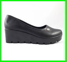 Жіночі Туфлі на Танкетці Чорні на Платформі (розміри: 41)