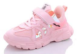 Детские розовые кроссовки на липучке для девочки, размеры 32-37, замеры в описании