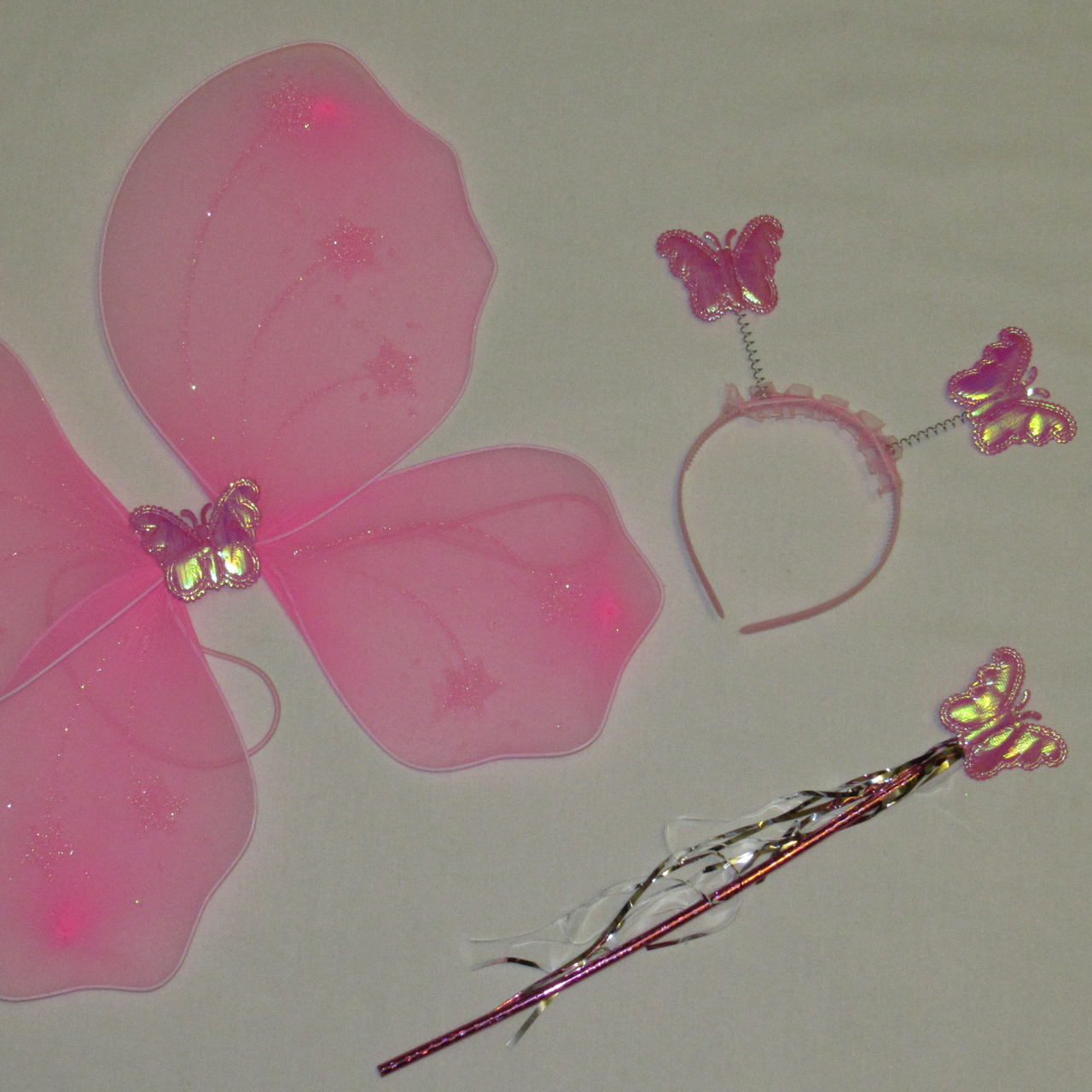 Дитячий набір феї рожевого кольору крила паличка обруч. Карнавальний набір Метелик/Фея. Набір 3 в 1 феї 24937