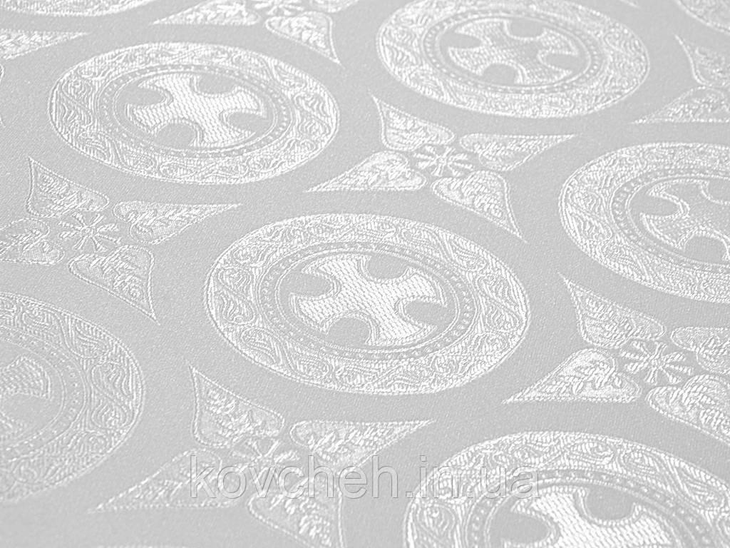 Шовкова церковна тканина Дамаск білий шовк з сріблом