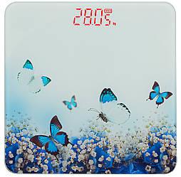 Ваги підлогові скляні (квадратні) на 180 кг YZ-1604 Метелики (9859)