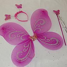 Детский набор феи фиолетового цвета крылья палочка обруч. Карнавальный набор Бабочка. Набор 3 в 1 феи 24937