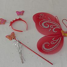 Детский набор феи красного цвета крылья палочка обруч. Карнавальный набор Бабочка. Набор 3 в 1 феи 24937