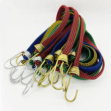 Резинка багажная с крючками  2 м х 20 мм (10 шт/упак) цветная плоская, фото 2