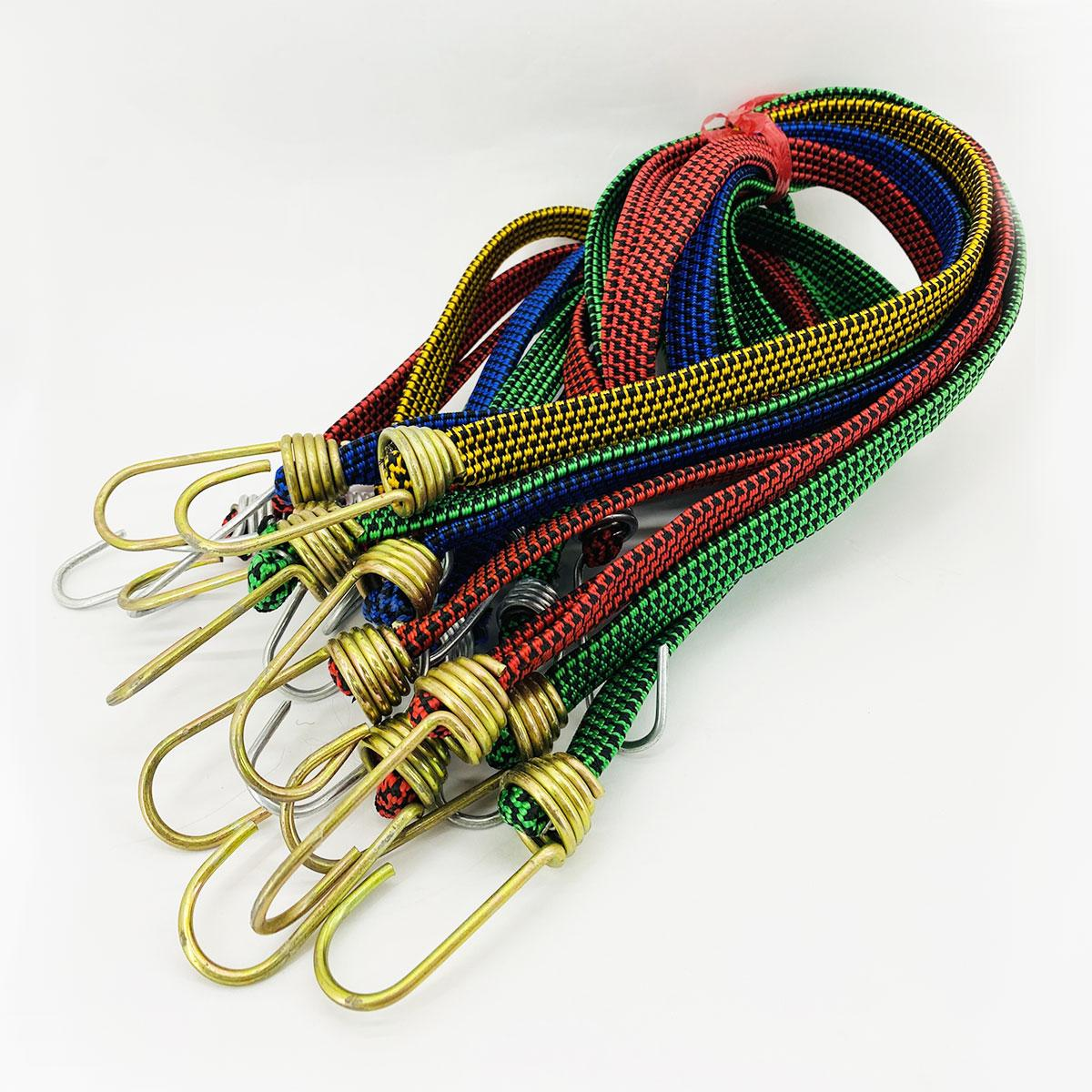 Резинка багажная с крючками  2 м х 20 мм (10 шт/упак) цветная плоская