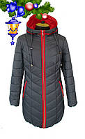 """Зимняя куртка с капюшоном серого цвета, модель """"Ева"""""""
