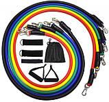 Набор трубчатых эспандеров для спорта с петлями| Универсальный трубчатые резиновые жгуты Бубновского из 5 шт, фото 5