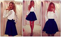 Расклешенное платье с гипюровым верхом