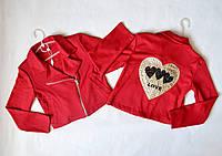 Пиджак косуха для девочки от 8 до 12 лет, детский, красный