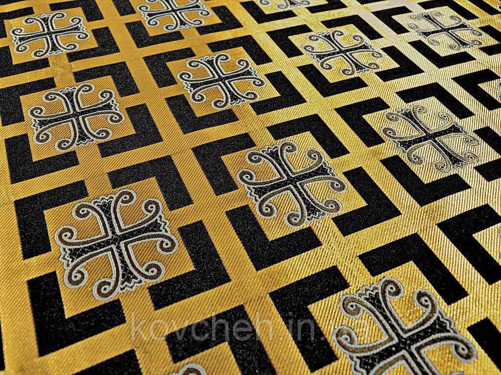 Шовкова церковна тканина Каппадокія чорна з білим кантом