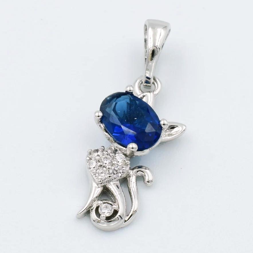 XUPING Кулон Родий кошечка с синим и белыми цирконами Высота 2.3см