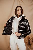 Молодежная женская куртка без капюшона Bubble весна-осень черная