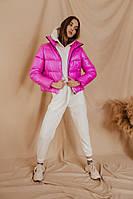 Пуховик Bubble женский весенний ярко-розовый без капюшона
