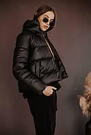Пуховик Bubble весна-осінь жіночі з еко-шкіри без капюшона чорний
