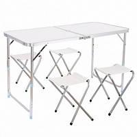 Стол для пикника со стульями Folding Table 120*60 cm Белый