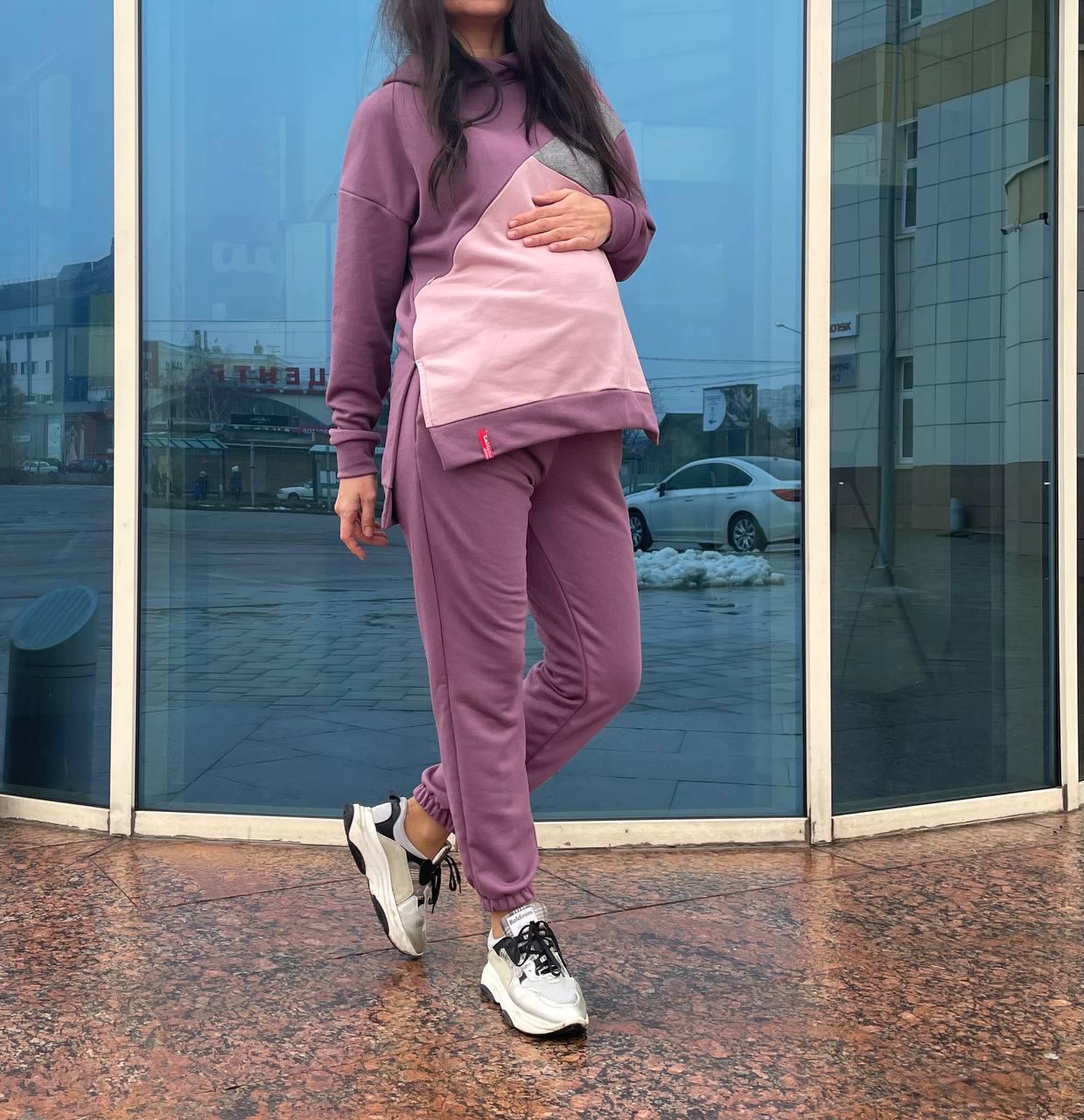Костюм для беременных с капюшоном и секретом для кормления ягода/пудра/серебро