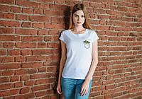 Женская белая футболка, карман с пальмами