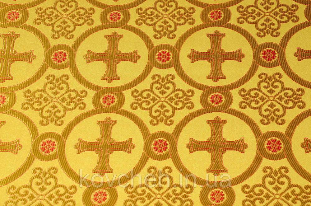 Шелковая церковная ткань Коринф желтый контур красный