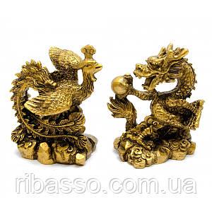 Дракон і Фенікс кам'яна крихта дракон 8х7х4,5 см,фенікс 8х6,5х5 см 29470