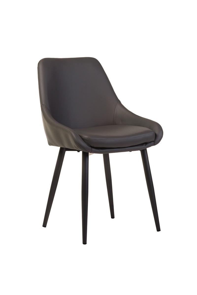 Серый стул для гостиной в эко-коже на металлически ножках