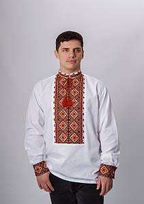 Чоловіча вишиванка з довгим рукавом та терракотовою вишивкою