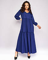 Женское легкое платье-трапеция свободного кроя больших размеров