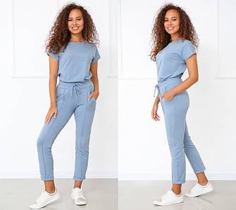 Костюм женский летний трикотажный двойка футболка и укороченные брюки