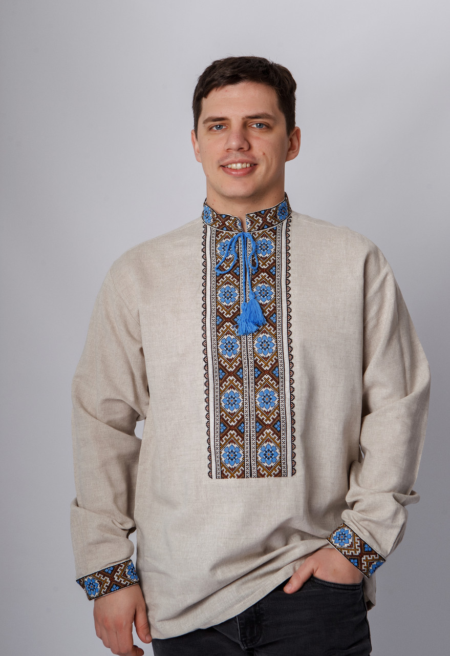 Вышиванка мужская с  длинным рукавом  с коричнево-голубой вышивкой