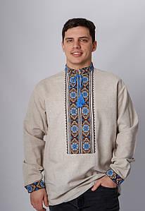Вишиванка чоловіча з  довгим рукавом з коричнево-блакинтою  вишивкою