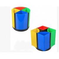 Підставка стакан для ручок для офісних приладдя пластик 4-х секції круглий трансформер 561980